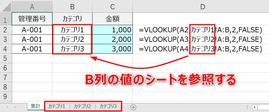 Excelでセルの文字列のシートを参照する